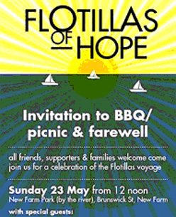 Poster promoting the departure of the flotilla from Brisbane.