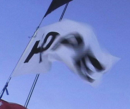Hope Flag flying on the mast.
