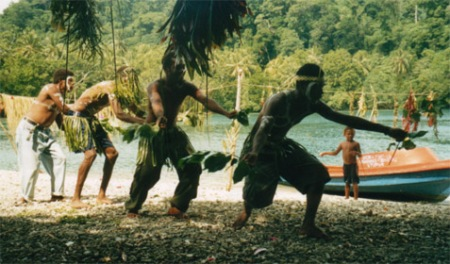 Santa Cruz, Solomon Islands locals dancing at the departure ceremony for Nauru.