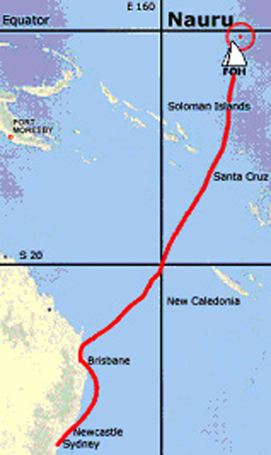 Route taken by Flotilla of Hope to Nauru to reach Nauru on 20 June, 2004 - World Refugee Day.