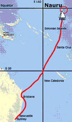 Route taken by Flotilla of Hope to Nauru to reach Nauru on 20 June, 2004 - World Refugee Day.