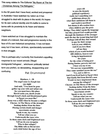 "Lyrics to the song ""Who Is That Refugee?'"