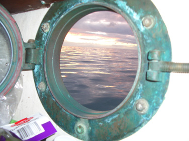 The view from Eureka's porthole, somewhere between Santa Cruz, Solomon Islands and Nauru.