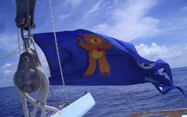 Teddy Bear flag made by Newcastle community and flown as we entered the barred 12 mile zone.