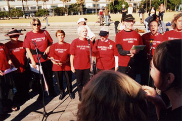 Trade Union Choir singing at the launch of the Flotilla of Hope in Sydney 15 May, 2004.