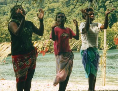 Santa Cruz, Solomon Island dancers at the departure ceremony wishing us luck and grace.