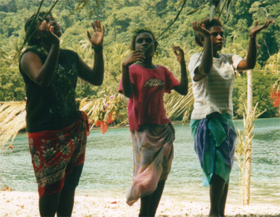 Santa Cruz, Solomon Island dancers at the departure ceremony wishing us luck and grace.