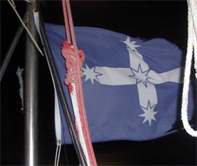 The Souther Cross flag on Eureka. Photo taken on the night that Lance told us the Eureka Stockade story.
