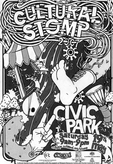 2007 Cultural Stomp Poster - note the 9 petalled flower from the first Cultural Stomp in 1997.