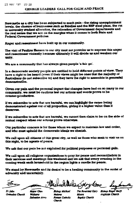 Combined Churches' Statement on the visit of Pauline Hanson on 23 May, 1997.