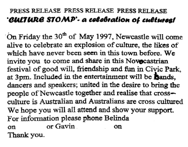 First Press Release for Cultural Stomp, 1997