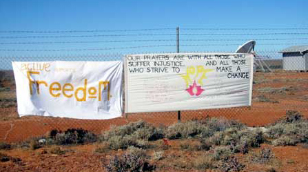 A hand painted message by local Newcastle people to the refugees.