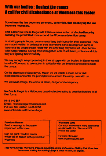 Flyer distributed by No One Is Illegal group in Melbourne.