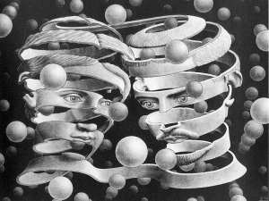 "M C Escher - ""Ambidextrous Peeled Faces"""